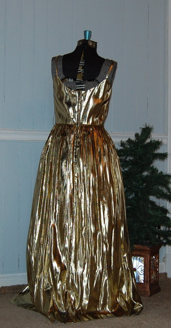 Gold Lame 2 Piece Gown - image 4