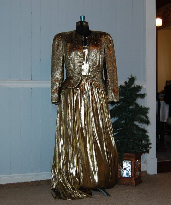 Gold Lame 2 Piece Gown - image 7