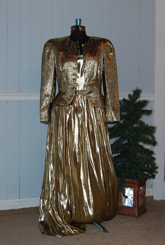 Gold Lame 2 Piece Gown