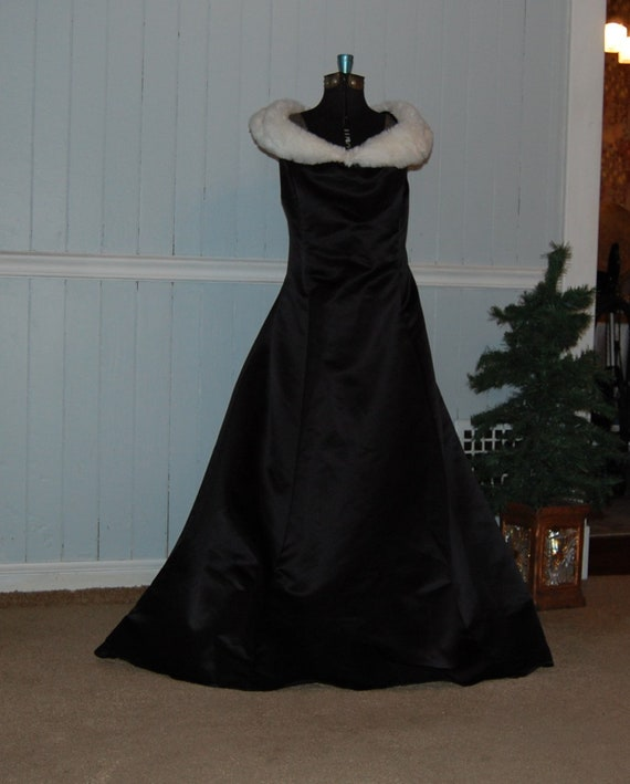 Off Shoulder McClintock Black Satin Gown with Faux