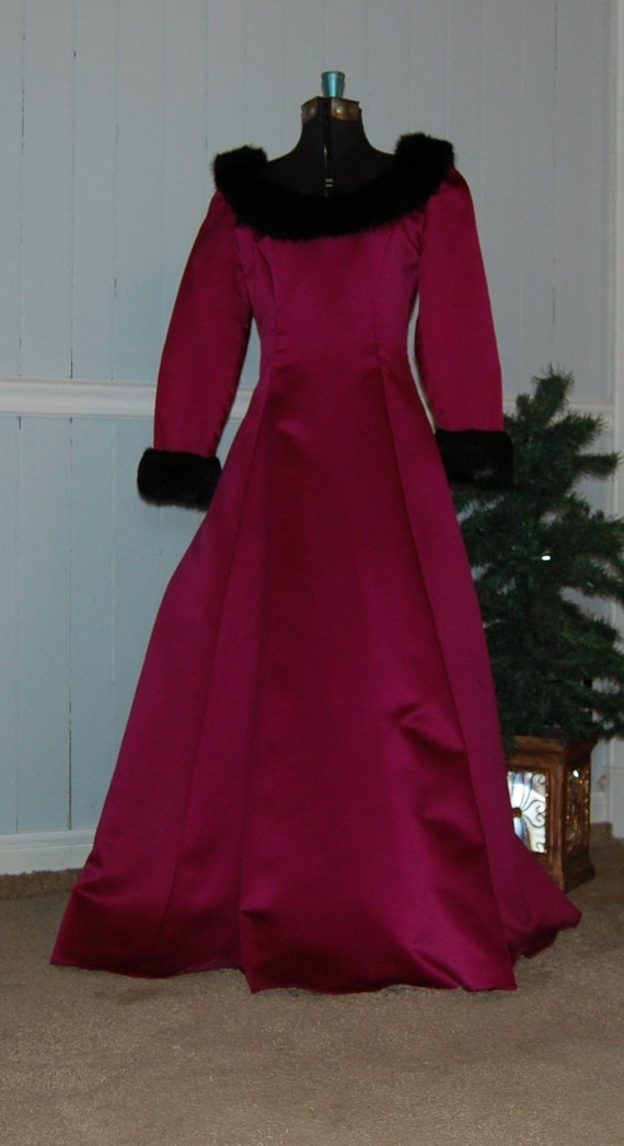 Raspberry Faux Fur Trimmed Gown