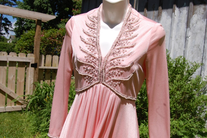 80s 90s High Low Hem V Neck Rinestone and Pearl Enhancement Long Sleeve Empire Waist Formal Pink Dress Size S XS