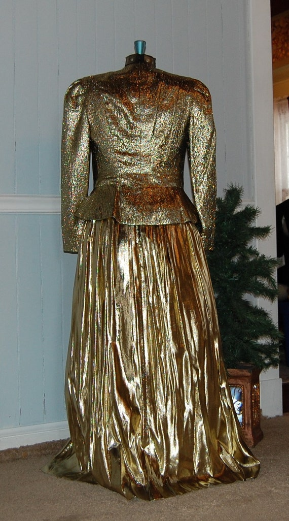 Gold Lame 2 Piece Gown - image 5