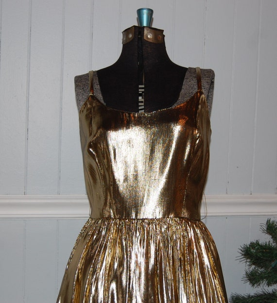 Gold Lame 2 Piece Gown - image 3