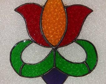 Stained Glass Tulip Suncatcher Pennsylvania Dutch Flower