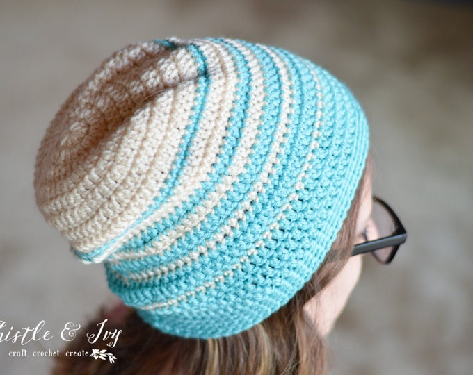 CROCHET PATTERN: Faded Stripes Slouchy Hat pdf DOWNLOAD