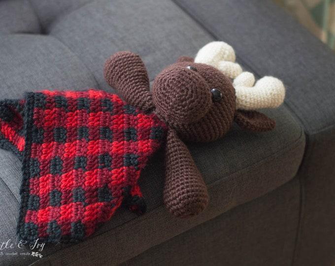 CROCHET PATTERN: Buffalo Plaid Moose Lovey for Baby (PDF Download Pattern)
