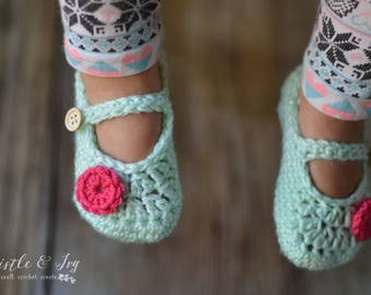 CROCHET PATTERN: Toddler Mary Janes Slippers Crochet pdf DOWNLOAD