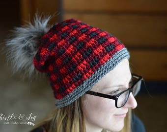 Women's Top-Down Buffalo Plaid Hat Crochet PATTERN PDF DOWNLOAD