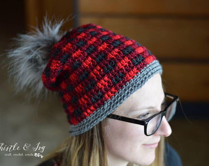 Women's Top-Down Buffalo Plaid Hat Crochet PATTERN PDF DOWNLOAD