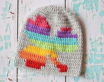 Rainbow Shamrock Slouchy Crochet PATTERN PDF DOWNLAOD