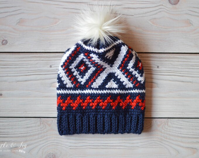 CROCHET PATTERN: Crochet Neva Hat (Team USA Olympics Hat) pdf Download