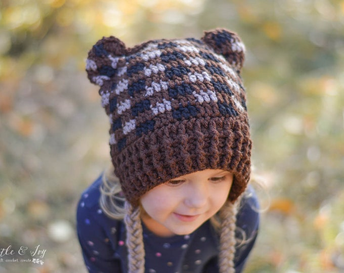 CROCHET PATTERN: Plaid Woodland Hats - Deer, Fox, Bear and Raccoon Pdf DOWNLOAD