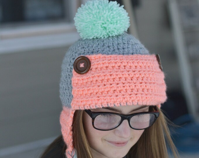 CROCHET PATTERN: Women's Trapper Hat pdf DOWNLOAD