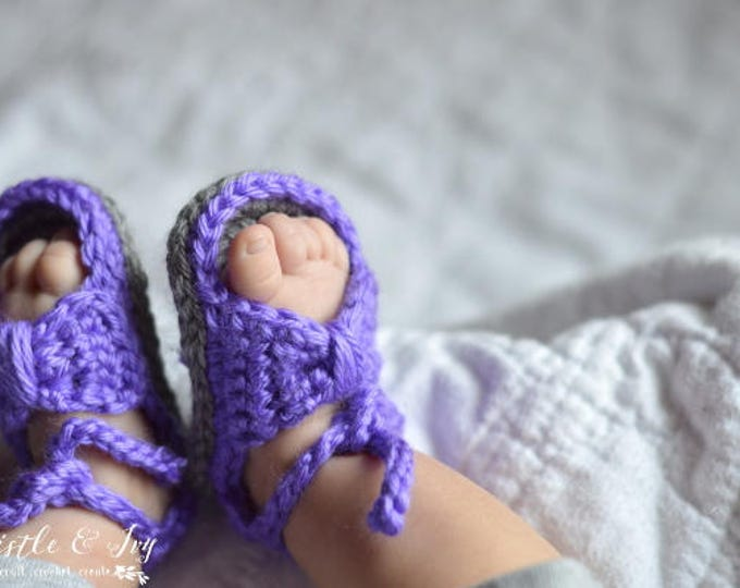 CROCHET PATTERN: Bitty Bow Baby Sandals pdf DOWNLOAD