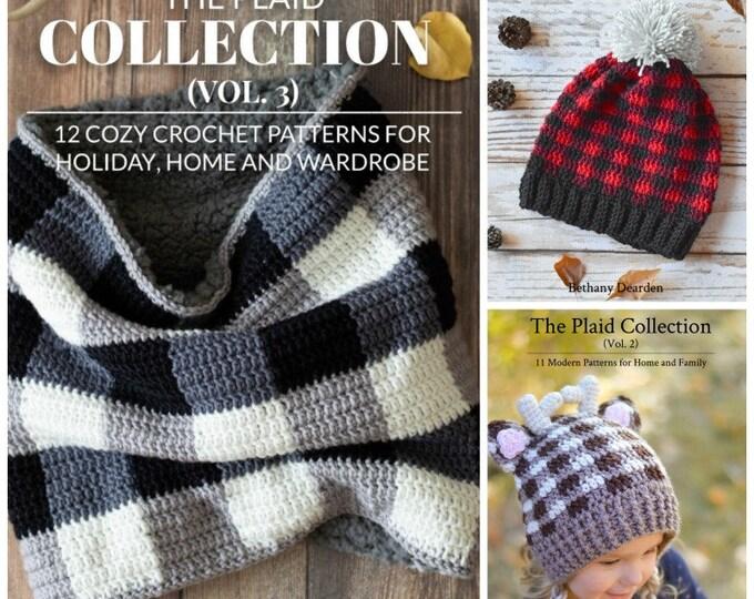 eBook Bundle - 37 PATTERNS - THREE Crochet Pattern ebooks: Plaid Collections Vol 1 + Vol 2 + Vol 3