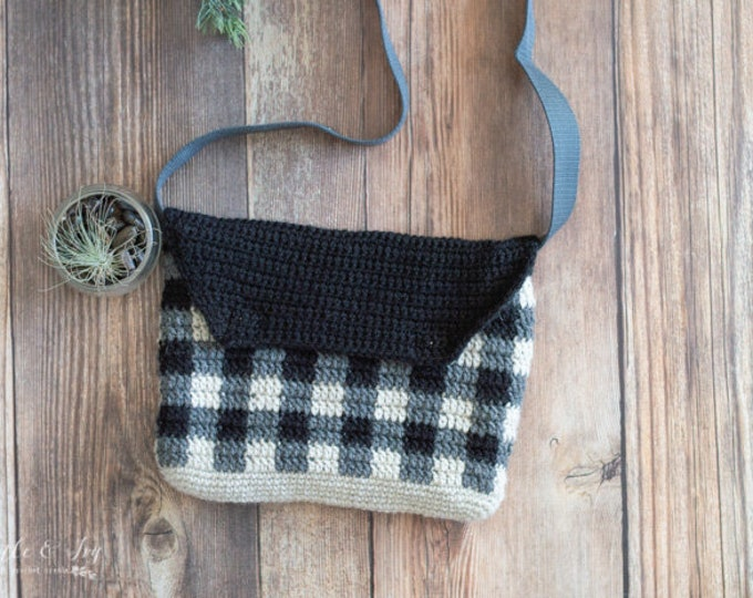 Crochet PATTERN DOWNLOAD Buffalo Plaid Cross Body Bag PDF