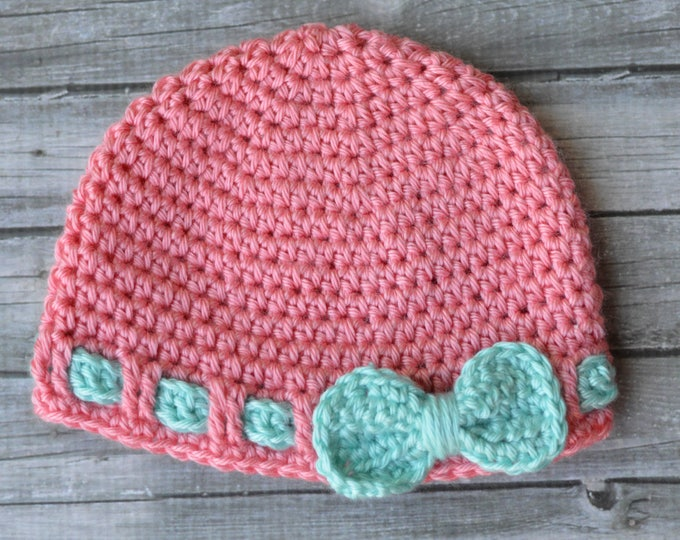 CROCHET PATTERN: Faux Ribbon Baby Hat Crochet Pattern pdf DOWNLOAD