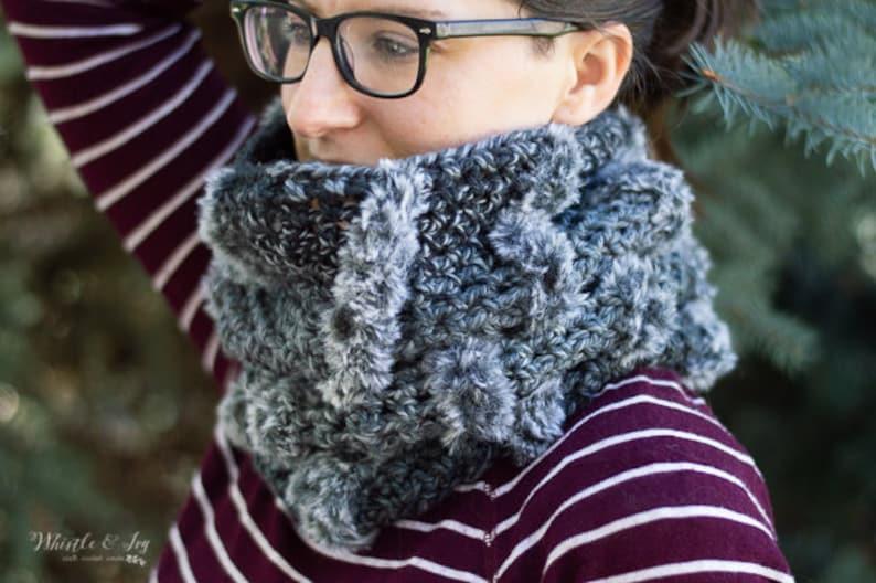 CROCHET PATTERN: Fur Stripe Crochet Cowl Crochet Pattern image 0