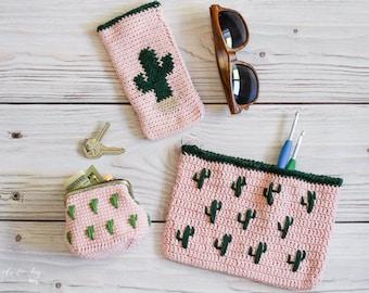 CROCHET PATTERN: Crochet Cactus Pouches Pattern Bundle (Three styles) -  PDF Instant Download