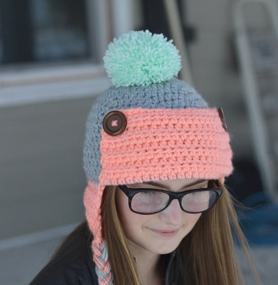 CROCHET PATTERN  Women s Trapper Hat pdf DOWNLOAD  cab2841a7b3