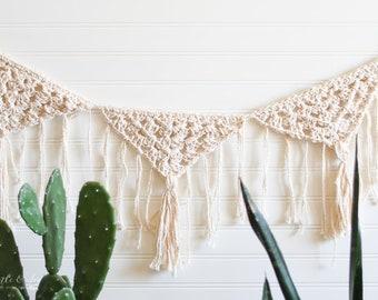 CROCHET PATTERN: Boho Fringe Granny Triangle Crochet Garland - PDF File Download