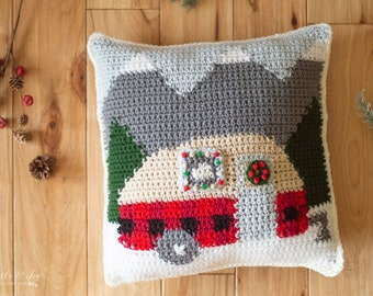 CROCHET PATTERN: Holiday Christmas Plaid Camper Pillow Colorwork Tapestry Crochet Pattern  (PDF Download Pattern)