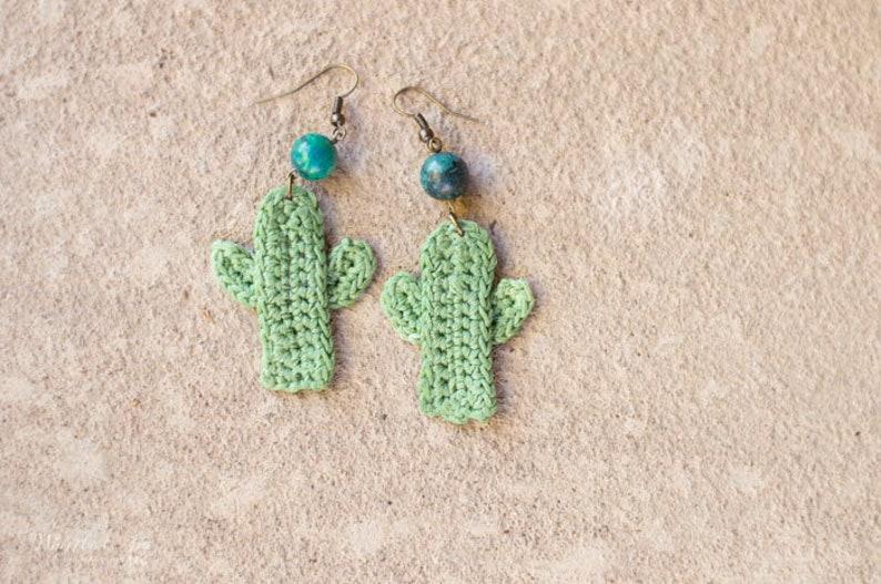 CROCHET PATTERN: Crochet Cactus Earrings   PDF Instant image 2
