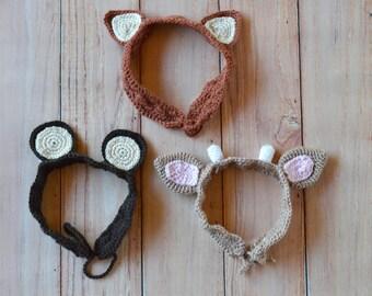 CROCHET PATTERN: Woodland Animal Ears Crochet Headbands Pdf  DOWNLOAD