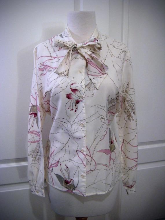 70s flowery cream Rhodes blouse