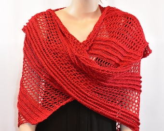 2c4f54a7d798 Crochet Dragon Wing Shawl for Women - Rich Red Color for Party, Wedding,  Celebration, Graduation or Everyday - Extra Large Size - 102 Inches