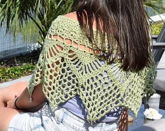 MADE TO ORDER Crochet Poncho With Charms, Crochet Shawl, Bridal Poncho, Wedding Shawl, Ponchette, Knit Poncho, Knit Shrug, Bed Jacket, Cape