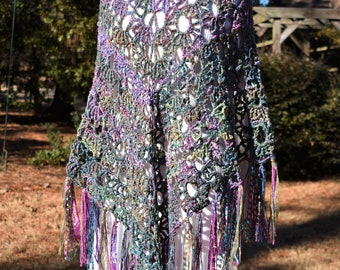 MADE TO ORDER (With Fringe) Crochet Poncho, Crochet Shawl, Knit Shawl, Knit Poncho, Ruana, Bohemian Poncho, Kimono Cardigan, Kimono Jacket