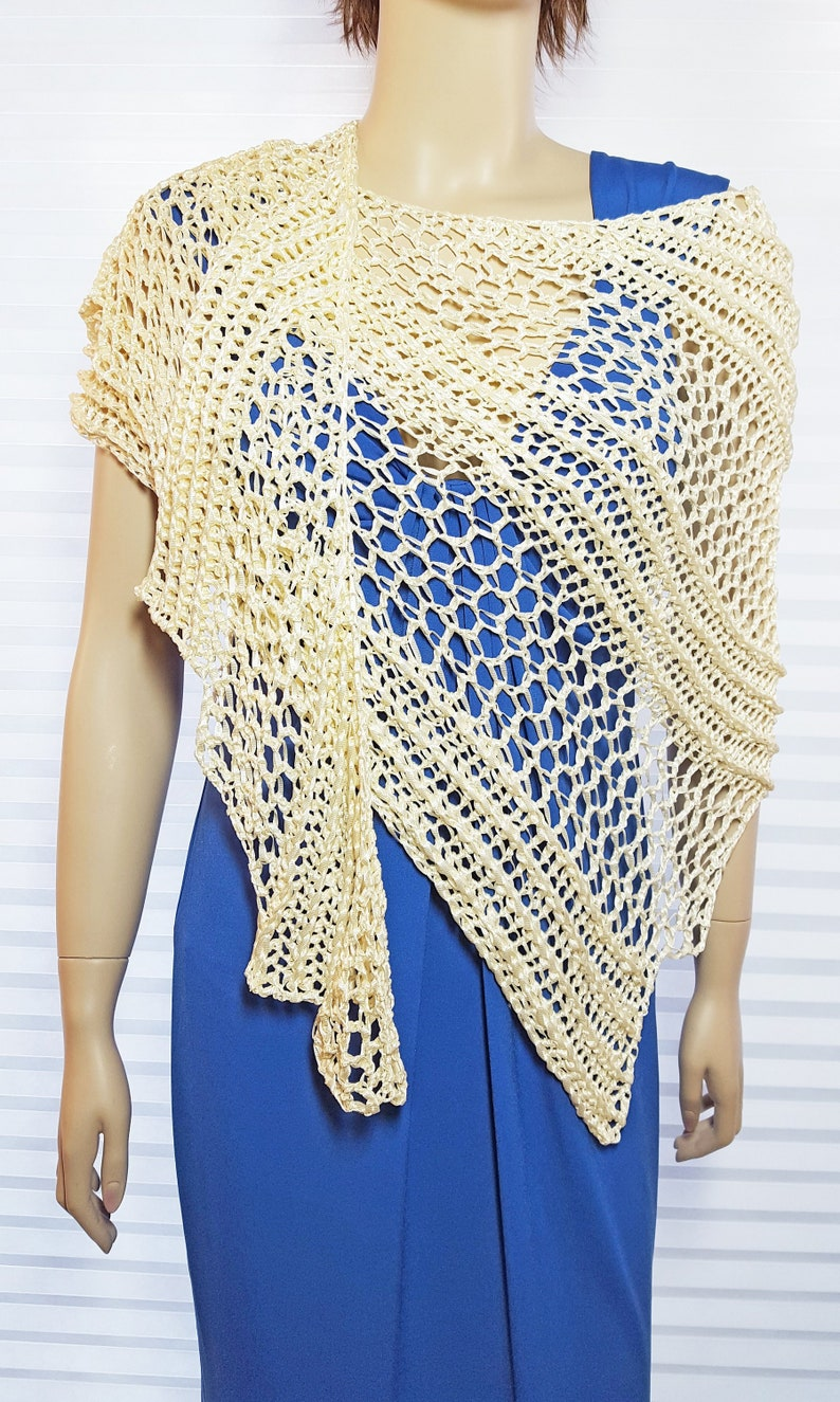 MADE TO ORDER Crochet Dragon Wing Shawl in a Large Asymetrical image 0