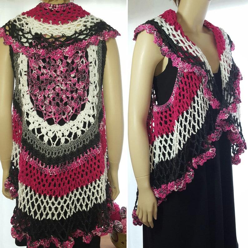 Crochet Vest Mandala Vest Kimono Cardigan Hippie Clothes image 0