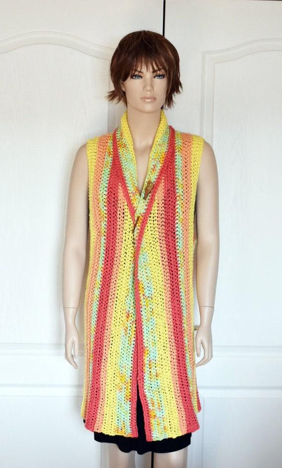 Boho Crochet Vest Fringe Vest Long Crochet Vest Black Vest Hand Knit Vest Circular Vest Boho Vest Womens Knit Sweater Crochet Vest