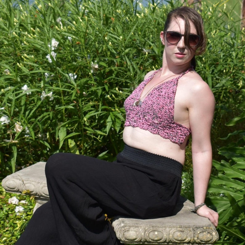 Crochet Halter Top for Women in Pink and Green  Size Small  image 0