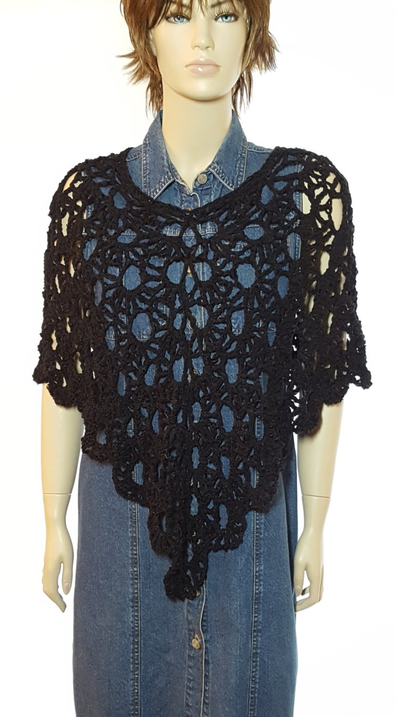 Crochet Poncho Crochet Sweater Crochet Shawl Black Poncho image 0