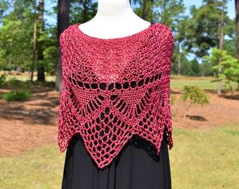 Crochet Poncho, Crochet Shawl, Shrug, Bridal Poncho, Bridal Shawl, Bed Jacket, Wheelchair Clothing, Crochet Cardigan, Ruana, Knit Shawl