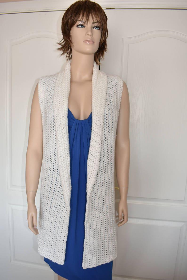Crochet Vest for Women Size Small White Kimono Cardigan image 0