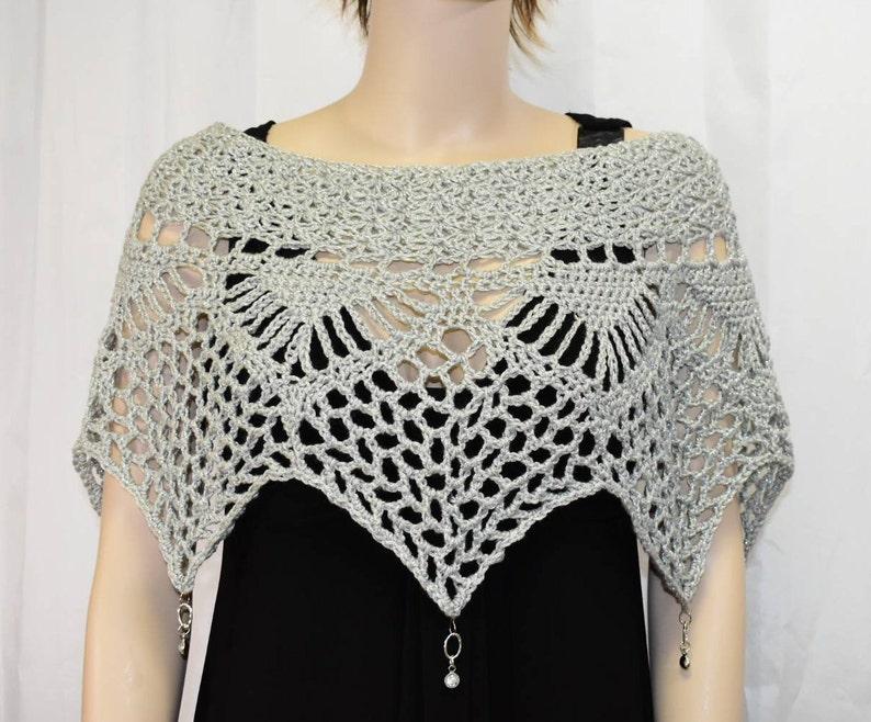 Silver Crochet Poncho Crochet Shawl Crochet Top Crochet image 0
