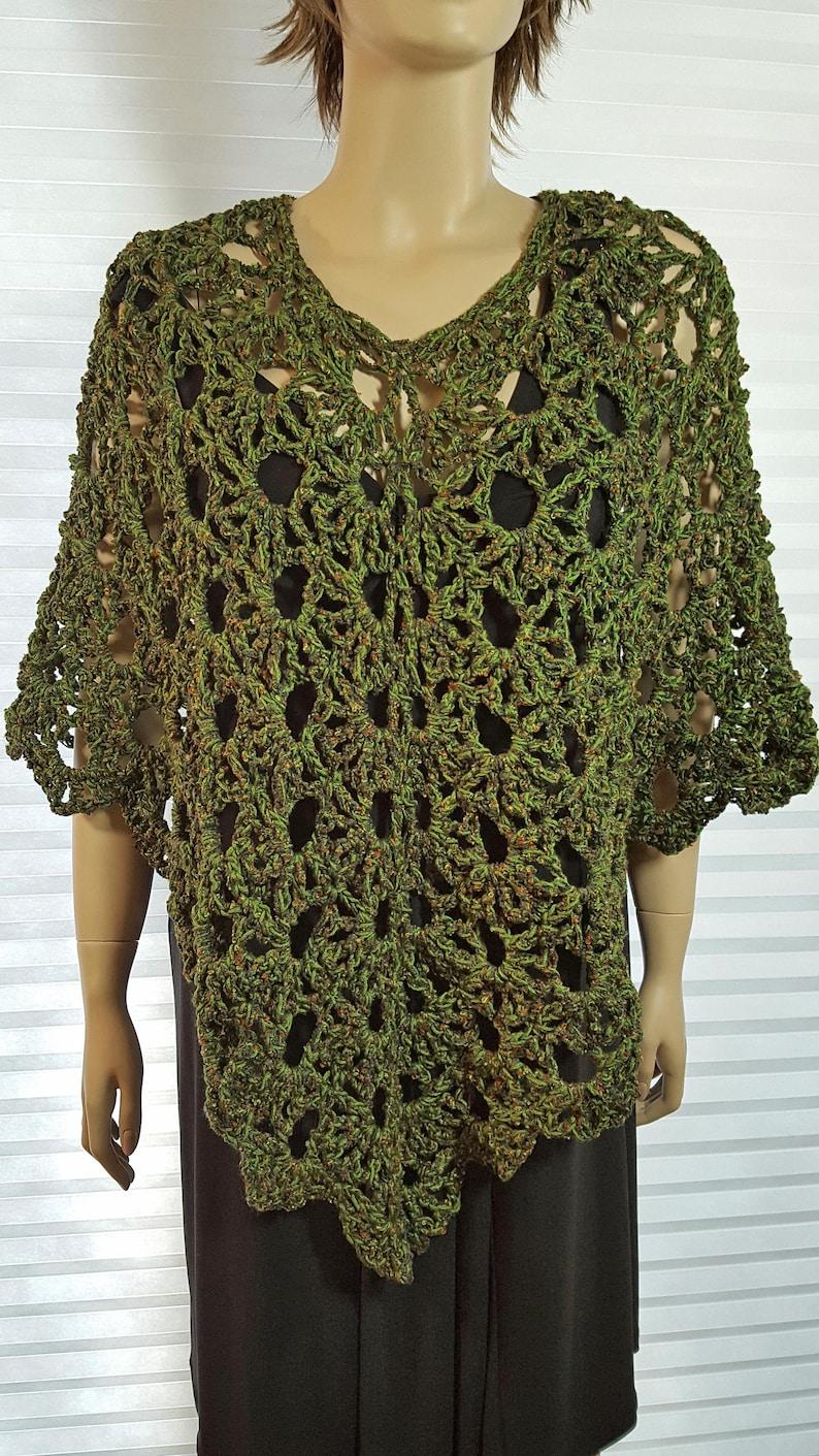 Crochet Poncho Boho Poncho V neck Poncho Lace Poncho image 0