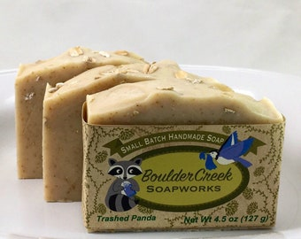 Trashed Panda: Cannabis Patchouli Scented Handmade Soap Hippie Gift Colloidal Oatmeal  Batch #335