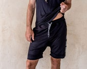 GR Track shorts - Athleisure, Black track shorts, terry shorts, yoga shorts, gym shorts, casual shorts, terry shorts, mens shorts.