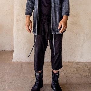 slouch pants lounge pants casual linen pleated pants long shorts. Linen pants casual pants Tumeric unisex pants capri pants