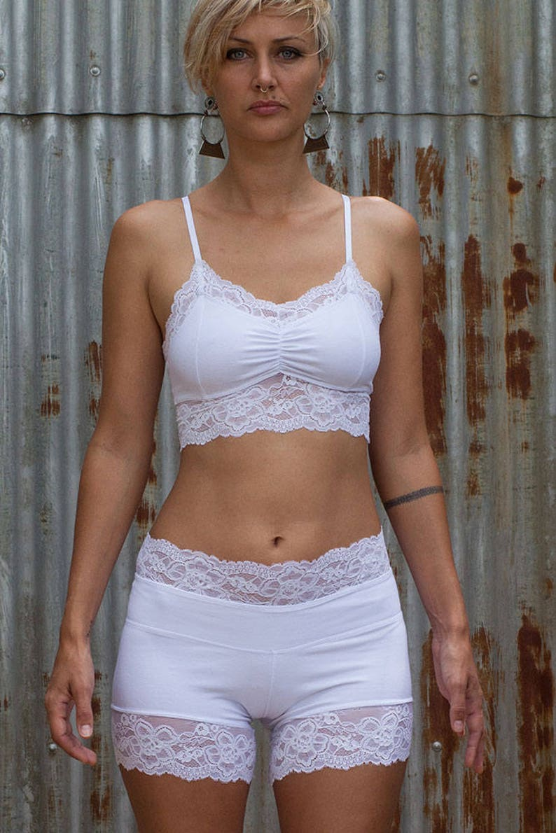 cf96ce0372 Lacy Crop Top White Crop Top Yoga Top White Lace Bralette