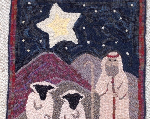 "Rug Hooking PATTERN, The Good Shepherd, 15"" x 20"",  P134, Primitive Folk Art DIY, Primitive Sheep, Christmas Shepherd"