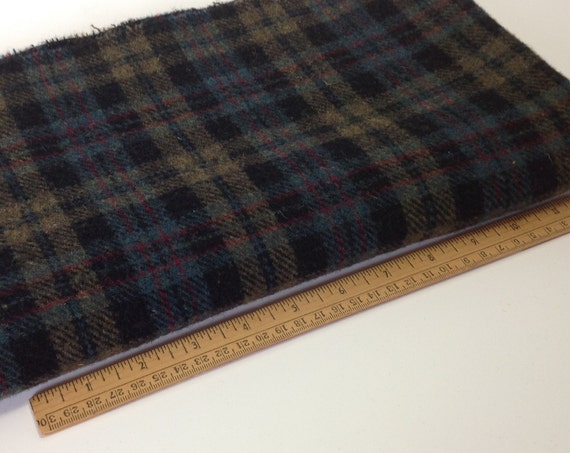 Fat 1/4 yard, Gemstone Plaid, Wool for Rug Hooking and Applique, W277, Dark Plaid, Background Plaid