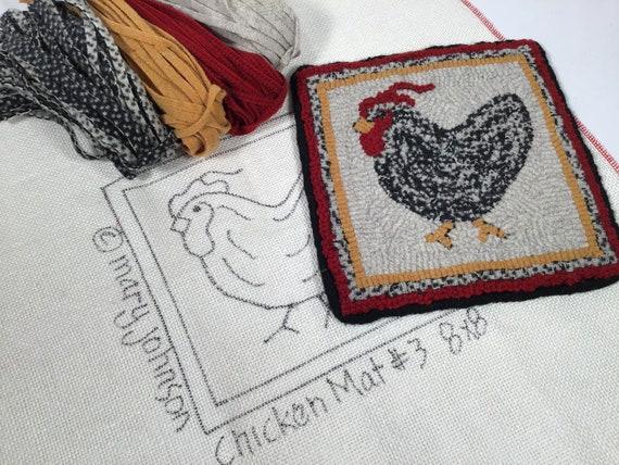 "Rug Hooking KIT, ""Chicken Mat #3, 8"" x 8"", K130, DIY Primitive Rug Hooking, Folk Art Chicken Mat"