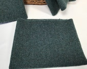Blue Herringbone, a mill dyed wool fabric for Rug Hooking and Applique, W514, Teal Blue, Blue Black